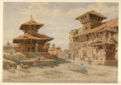 W. end of the Durbar, or Royal Palace, Bhatgaon (Nepal). March 1853
